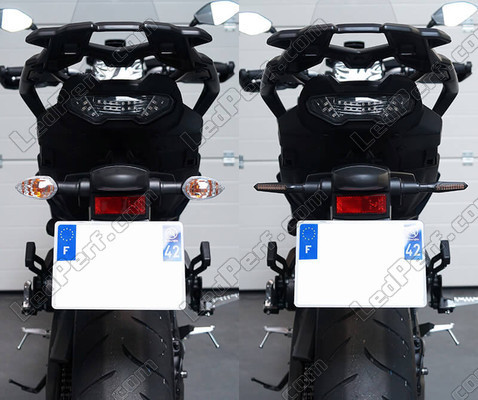 Before and after comparison following a switch to Sequential LED Indicators for Kawasaki Versys 1000 (2018 - 2020)