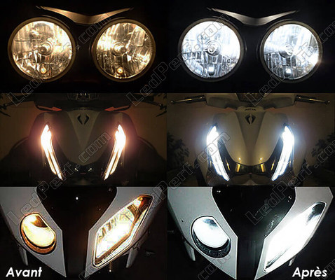 Led Xenon White Sidelights Kawasaki VN 1600 Mean Streak before and after