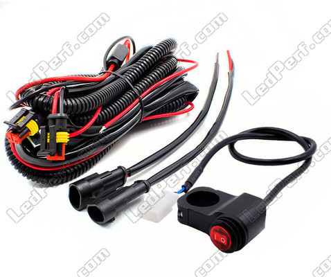 Complete electrical harness with waterproof connectors, 15A fuse, relay and handlebar switch for a plug and play installation on Triumph Bonneville Bobber Black<br />