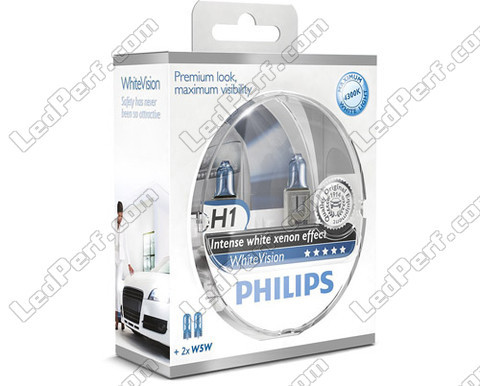 Pack of 2 Philips WhiteVision H1 bulbs + 2 W5W WhiteVision