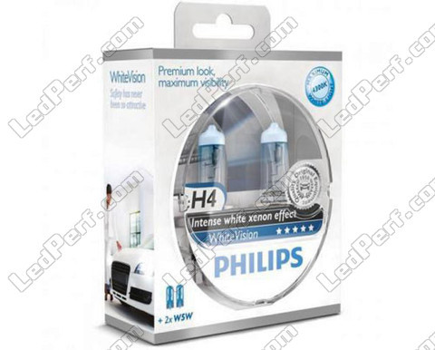 Pack of 2 Philips H4 bulbs WhiteVision + 2 W5W WhiteVision