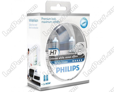 Pack of 2 Philips H7 bulbs WhiteVision + 2 W5W WhiteVision