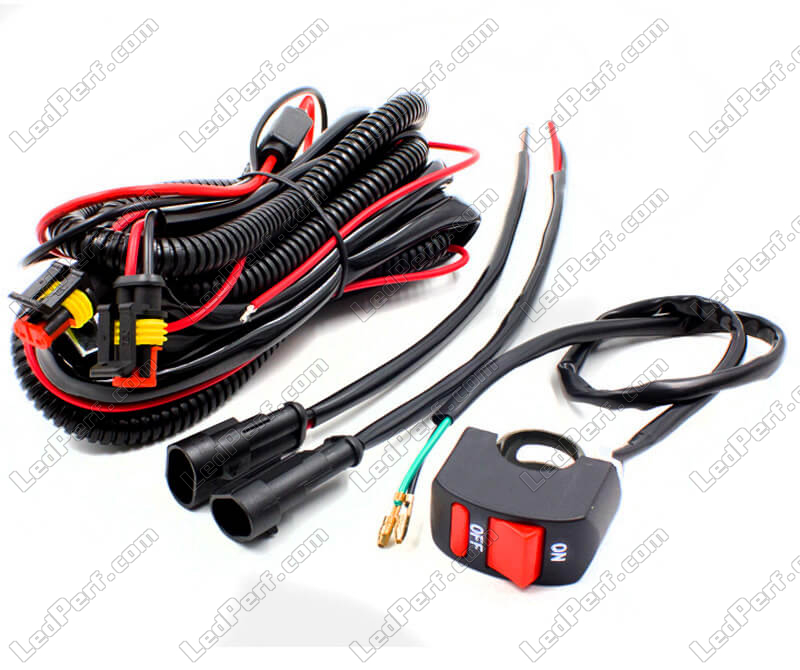 Motorcycle power harness with handlebar switch for additional LED lights on