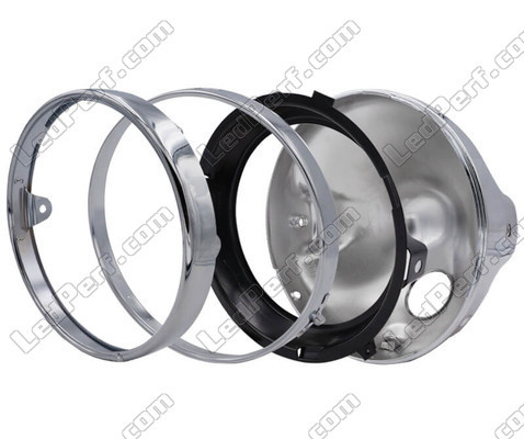 Round and chrome headlamp for Moto-Guzzi Griso 1200 full LED optics, parts assembly