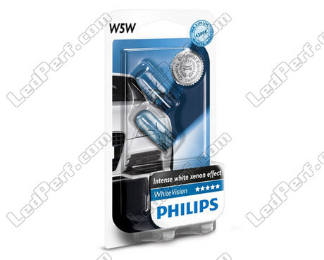 pack of 2 philips whitevision halogen sidelights white base w5w for sidelights. Black Bedroom Furniture Sets. Home Design Ideas