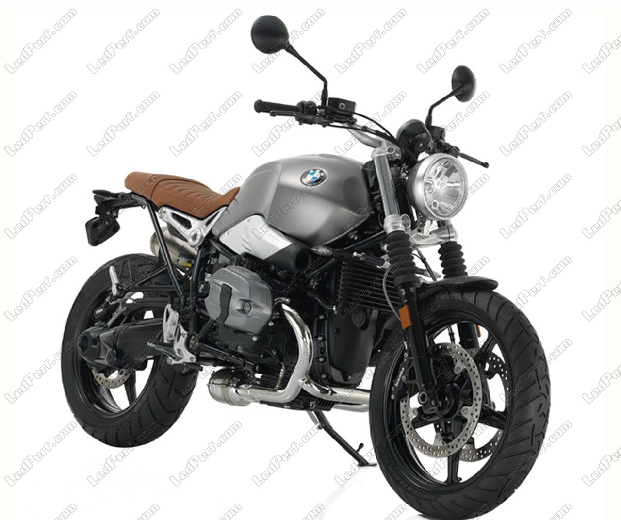 LED headlight for BMW Motorrad R Nine T Scrambler - Round motorcycle optics  approved