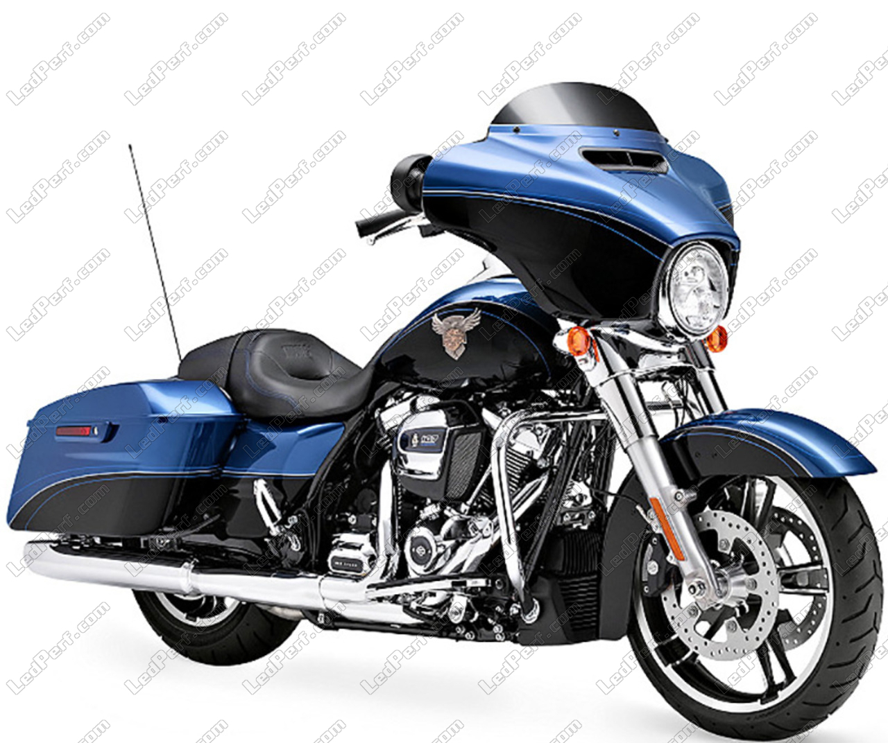 Led Headlight For Harley Davidson Street Glide 1745 Round Motorcycle Optics Approved