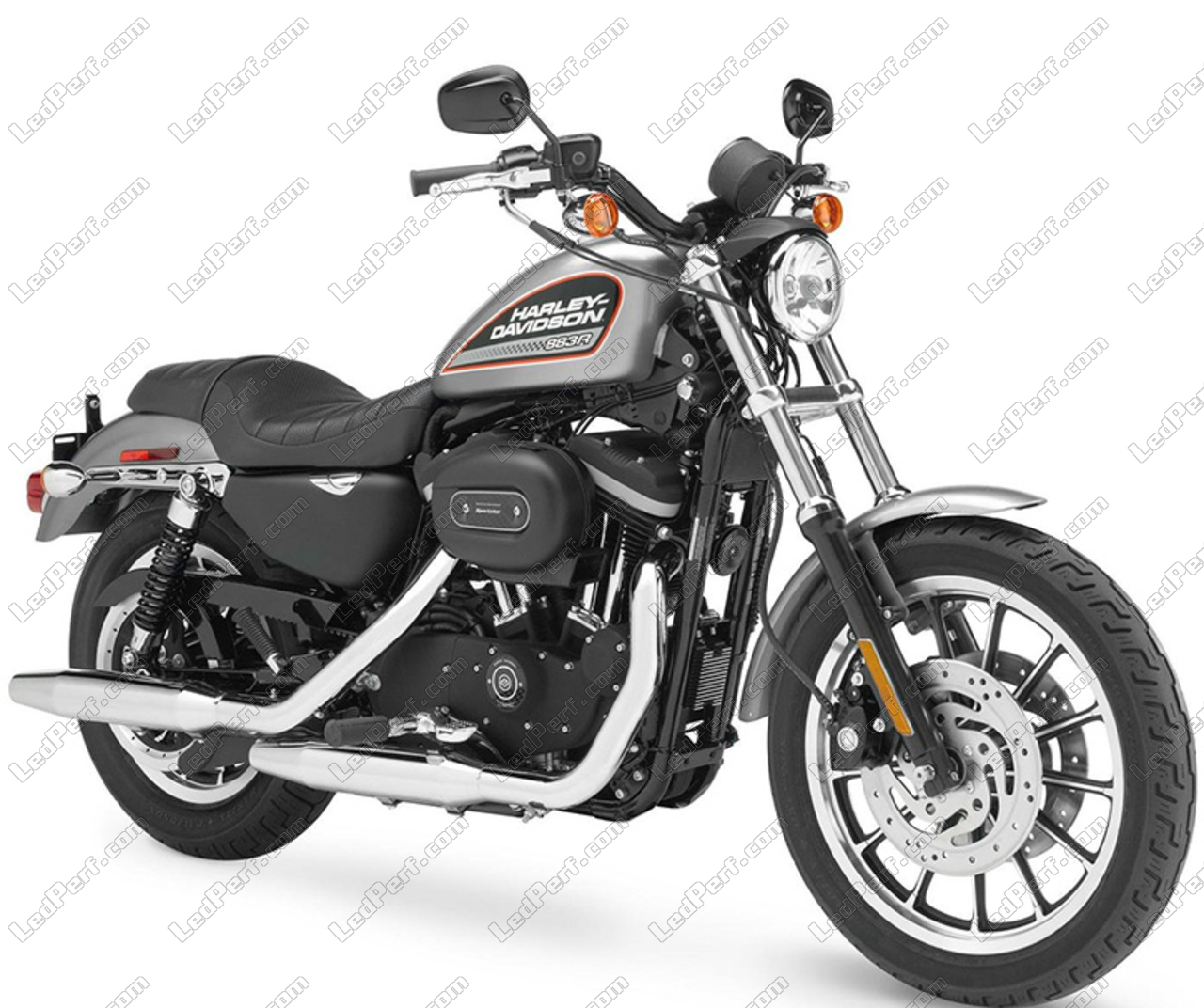 LED headlight for Harley-Davidson XL 883 R - Round motorcycle optics  approved