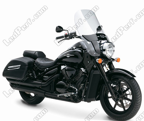 Black round headlight for 7 inch full LED optics of Suzuki Intruder C 1500 T