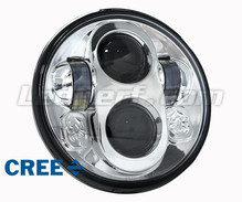 Chrome Full LED Motorcycle Optics for Round Headlight 7 Inch - Type 2